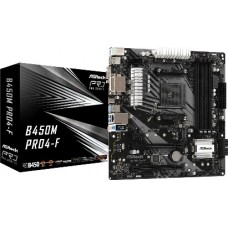 ASROCK MB B450M PRO4-F, SOCKET AMD AM4, CS AMD B450, 4 DIMM SOCKETS DDR4, D-SUB/DVI-D/HDMI, LAN GIGABIT, MICRO-ATX, 2YW.