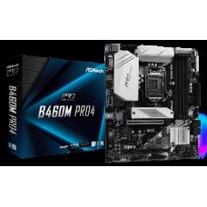 ASROCK MB B460M PRO4, SOCKET INTEL LGA1200 10th GEN, CS INTEL B460, 4 DIMM SOCKETS DDR4, D-SUB/DP/HDMI, LAN GIGABIT, MICRO-ATX, 2YW.