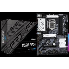 ASROCK MB B560 PRO4, SOCKET INTEL LGA1200 11th/10th GEN, CS INTEL B560, 4 DIMM SOCKETS DDR4, HDMI/DISPLAY PORT, LAN GIGABIT, ATX, 2YW.
