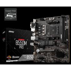 MSI MB B550M PRO, SOCKET AMD AM4, CS AMD B550, 2 DIMM SOCKETS DDR4, D-SUB/DISPLAY PORT/HDMI, LAN GIGABIT, MICRO-ATX, 3YW.