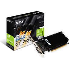 MSI VGA PCI-E NVIDIA GF GT 710 (GT710-1GD3HLP), 1GB/64BIT DDR3, 15PIN DSUB/DL DVI-D/HDMI, 1 SLOT HEATSINK, 3YW.